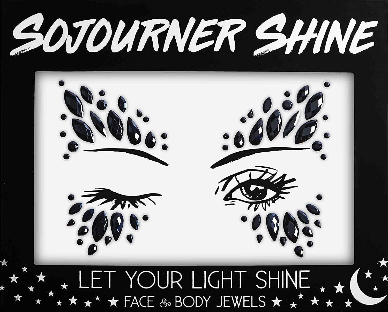 Face Jewels Glitter Gems Rhinestones – Eye Body Jewels Gems | Rhinestone Stickers | Body Glitter Festival Rave & Party Accessories by SoJourner (Black Beauty) SoJourner Bags