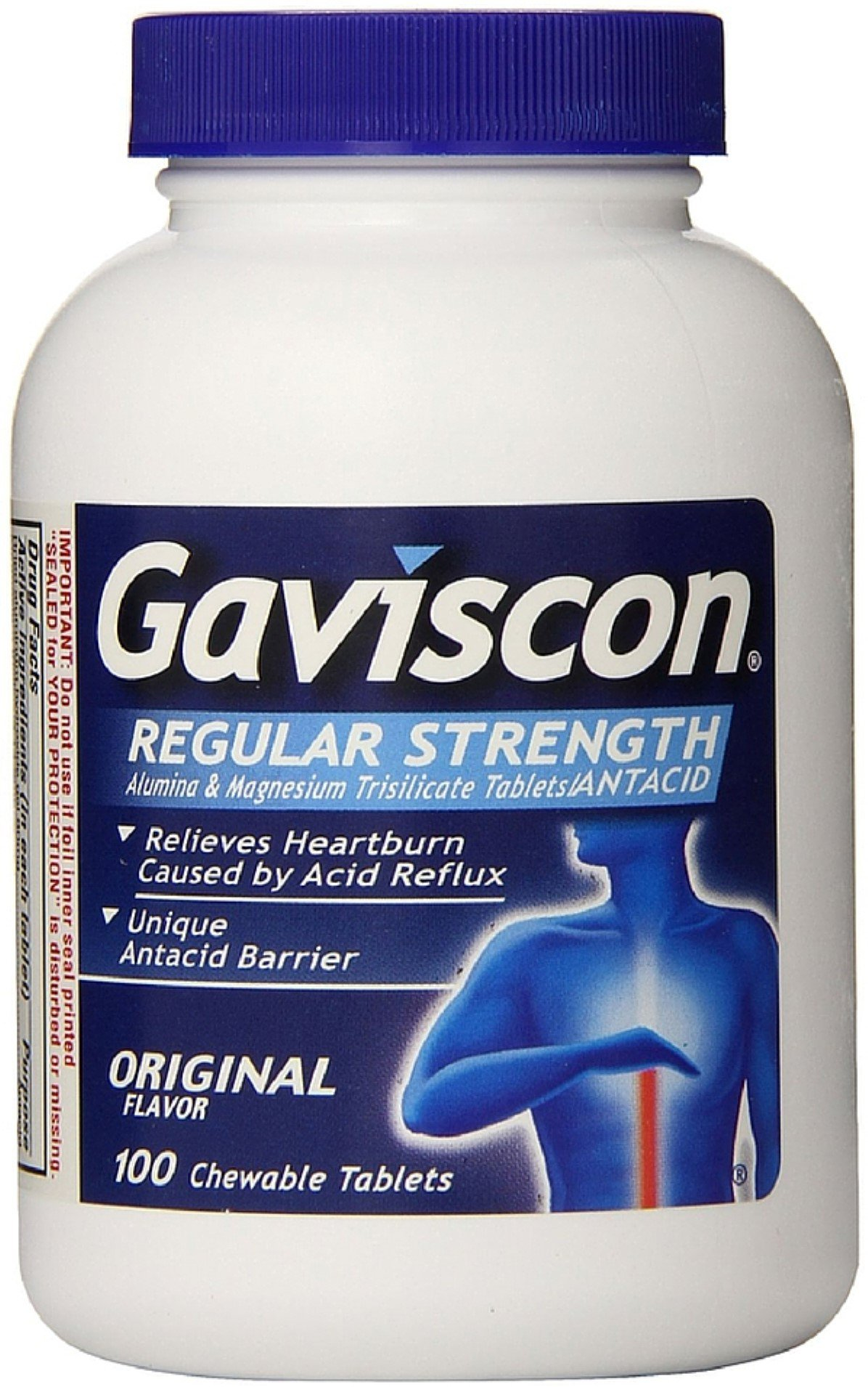 Gaviscon Original Flavor Regular Strength Antacid Chewable Tablets 100 ct (Pack of 12) by Gaviscon