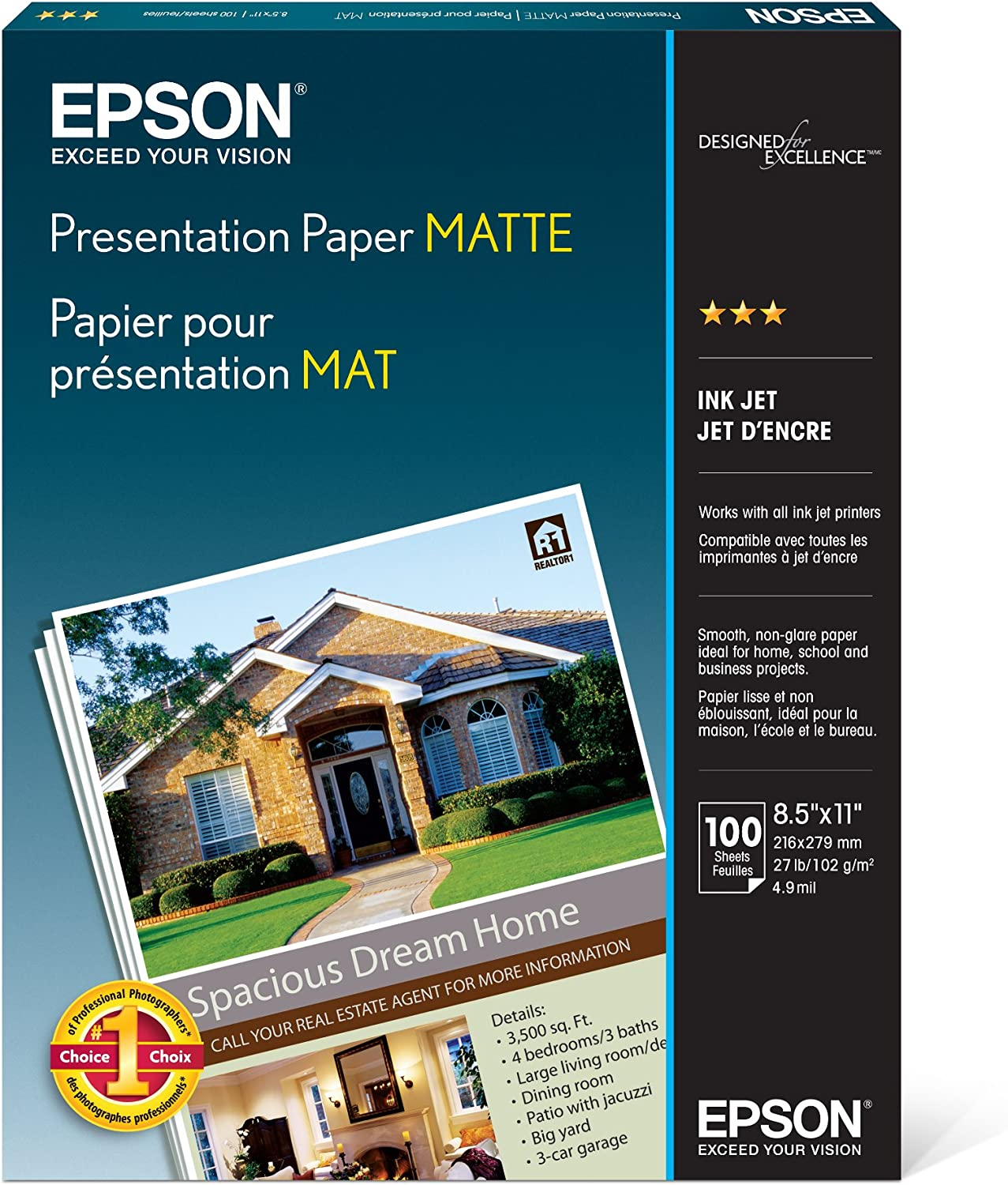 Epson S041062 Matte Presentation Paper, 27 lbs., Matte, 8-1/2 x 11 (Pack of 100 Sheets),White