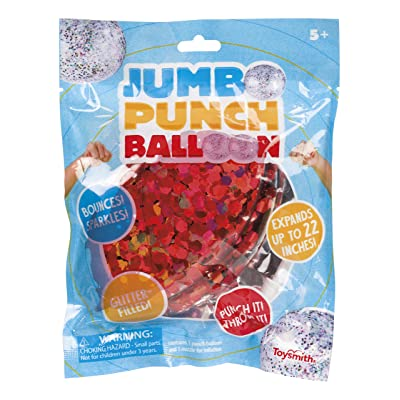 "Toysmith Glittery Jumbo 22"" Punch Balloon, (Red, Blue, Silver): Toys & Games"