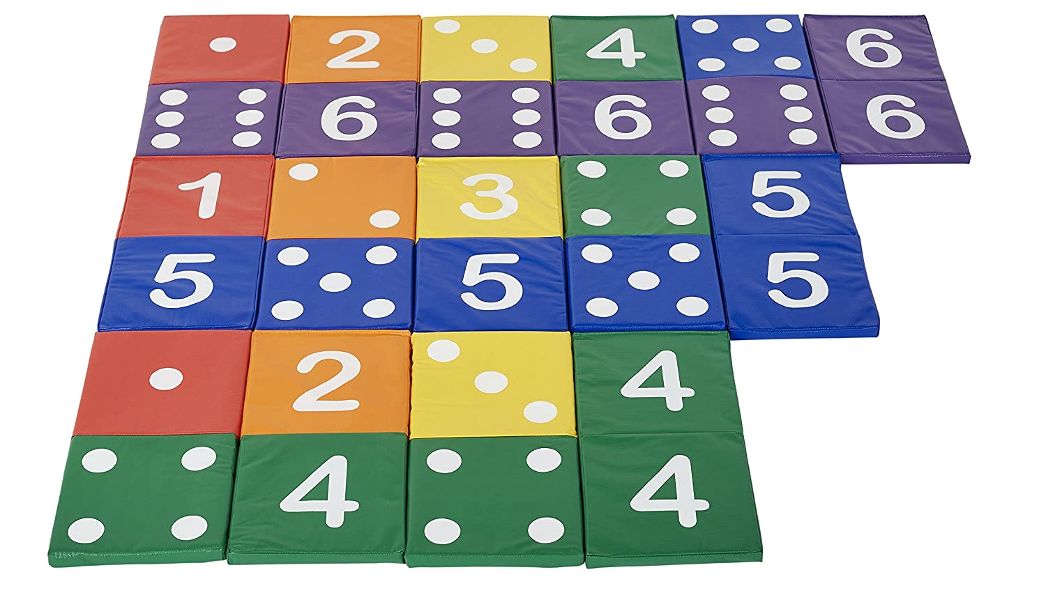 Pack of 28 Fun for Kids and Adults ECR4Kids ELR-12691 SoftZone Giant Match and Learn Reversible Foam Dominoes Game Set Primary Colors Assorted