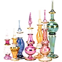 Egyptian Perfume Bottles Wholesale Mix Collection Set of 12 hand Blown Decorative Pyrex Glass 2 -5 in with handmade golden Egyptian decoration for Perfumes & Essential Oils by NileCart