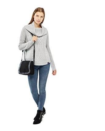 9dbdb0779 Superdry Women s Lia Cable Cowl neck Jumper - Grey Marl (14)  Amazon ...