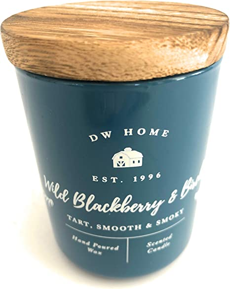 DW Home Wild BlackBerry and Birch Hand Poured Small Wax Candle with Wooden Top 3.8 Oz