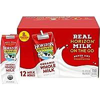 Horizon Organic Whole Milk 8 Ounce Single, 12 Count