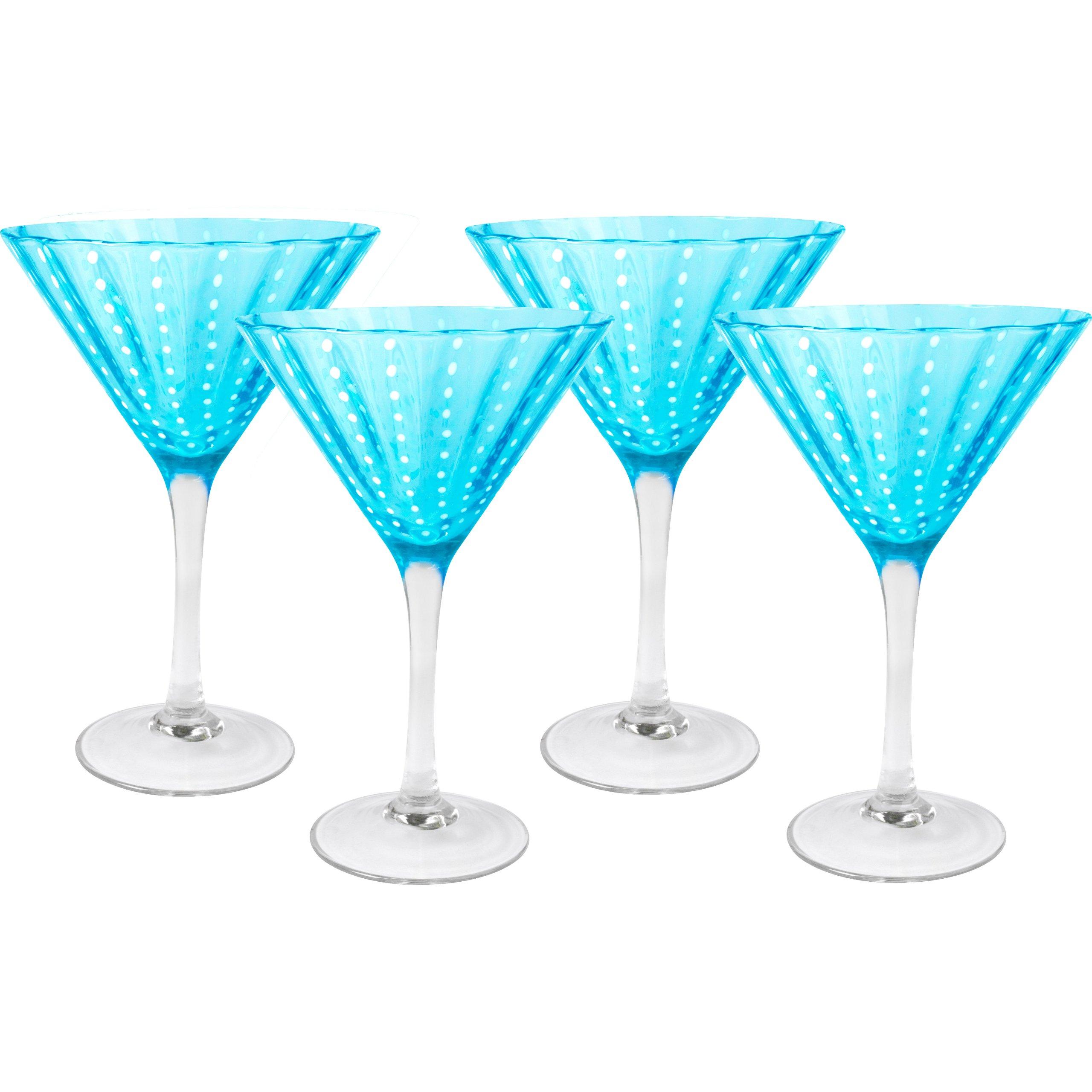 Artland Cambria 8 Ounce Turquoise Martini Bar Glass, Set of 4