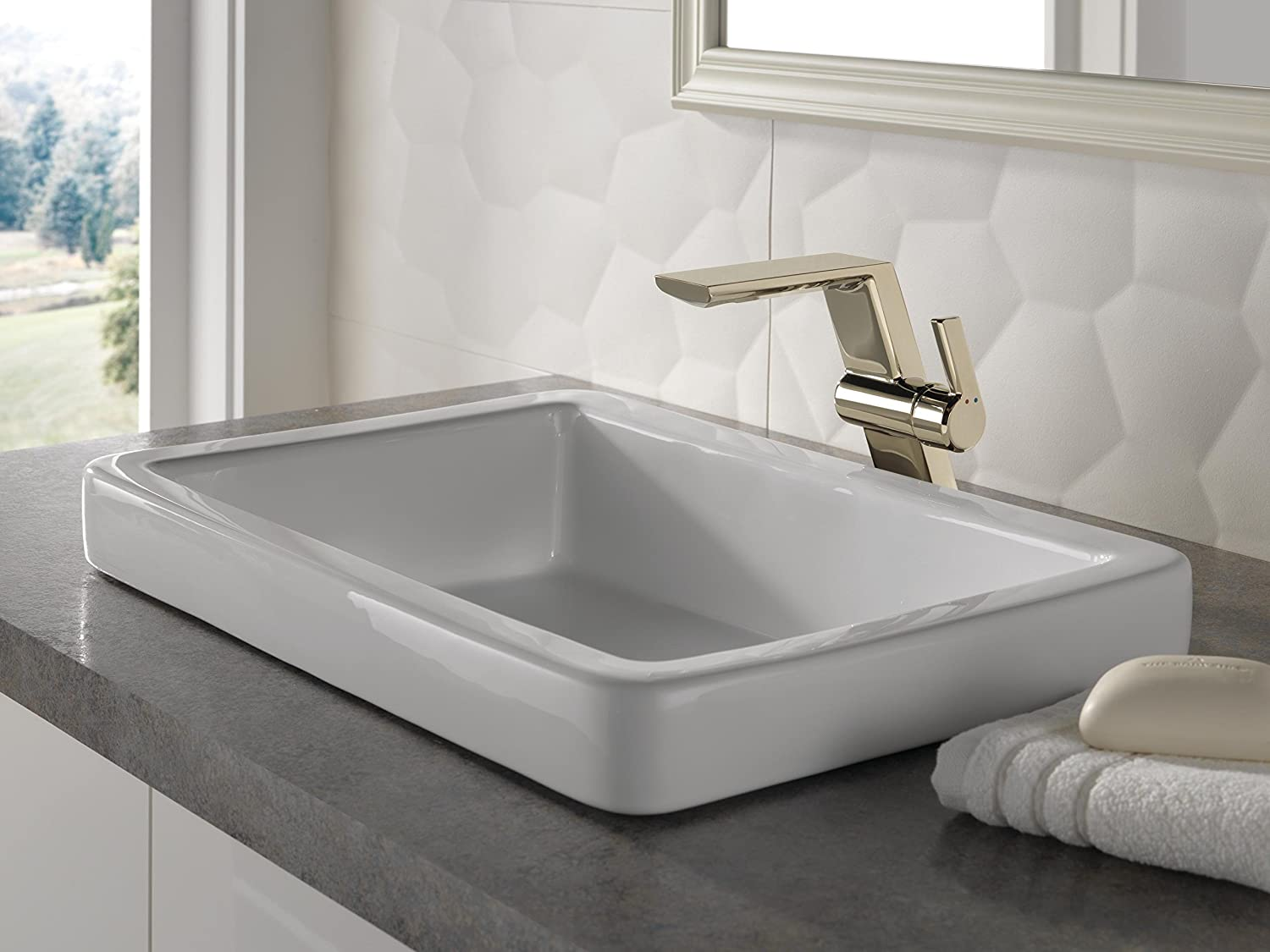 Stainless Delta Faucet 699-SS-DST Pivotal Single Handle Mid-Height Vessel Lavatory Faucet