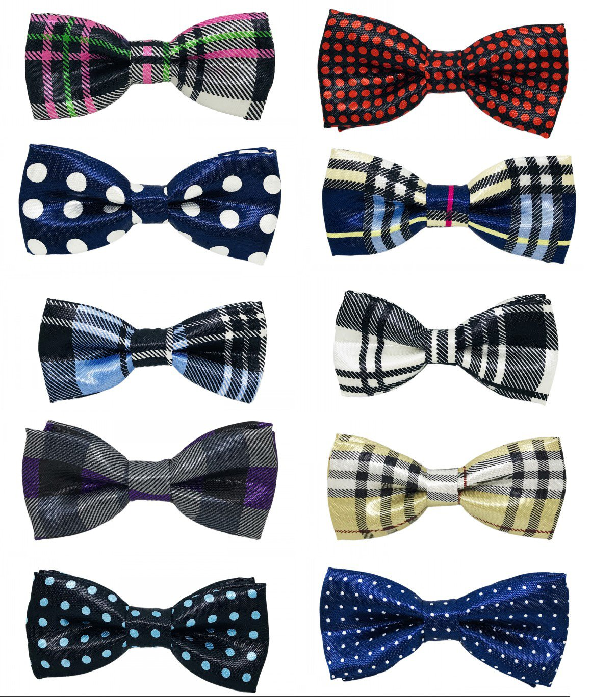 PET SHOW Pet Small Dogs Collar Attachment Bow Ties Puppies Cats Collar Charms Accessories Slides Bowties for Birthday Wedding Parties Assorted A Style Assorted Plaid Dot Styles Pack of 10