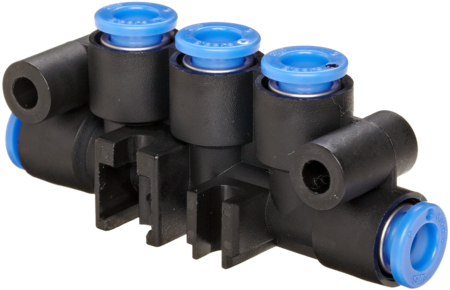 Black Pack of 5 SMC KM16-06-06-3 PBT Push-to-Connect Tubing Manifold 2 Inlets-6 mm 3 Outlets-6 mm Tube OD