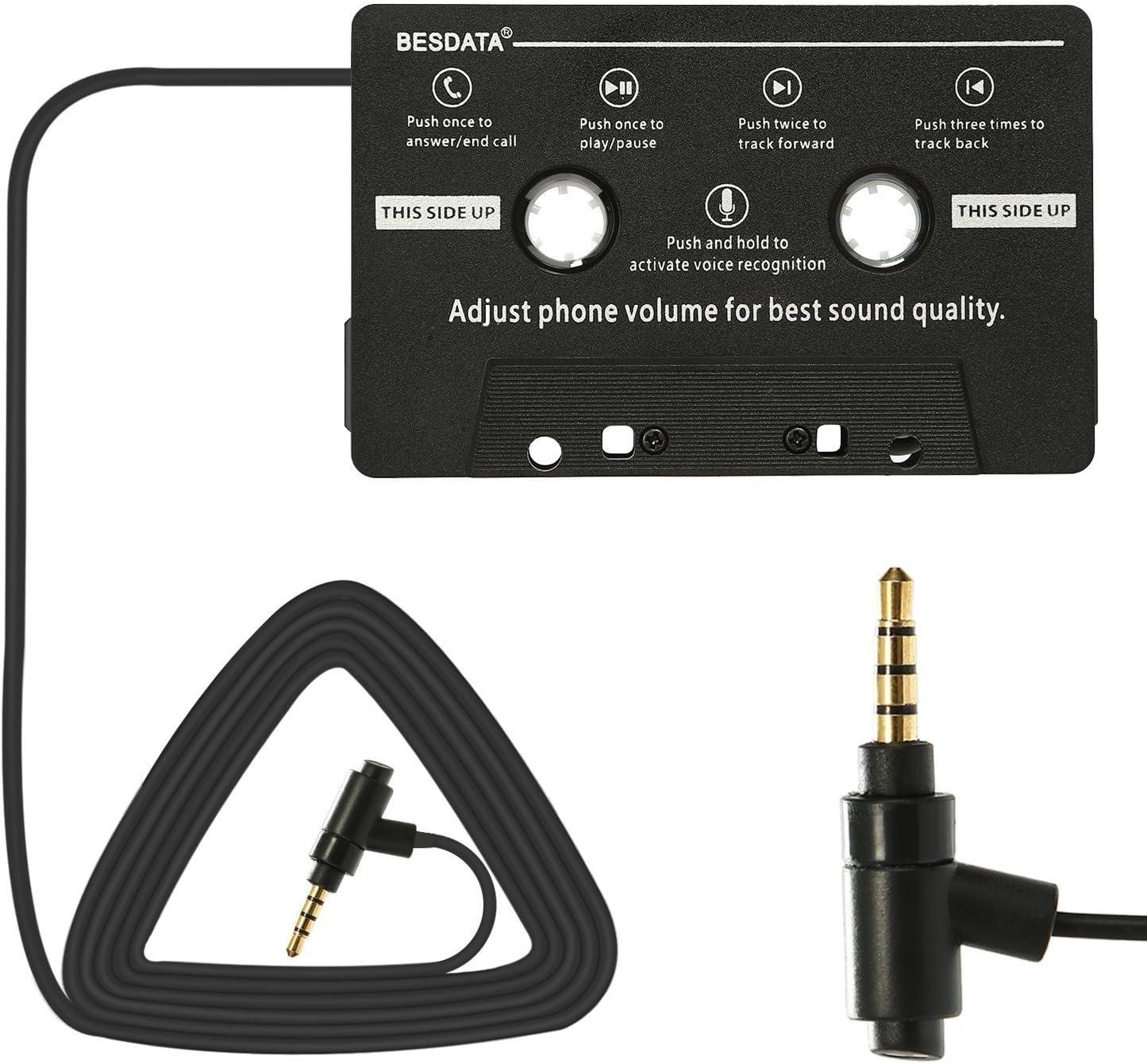 BESDATA Adaptador de Cassette para Coche para iPod, iPad, iPhone, MP3, Dispositivos MOviles, Cable 3 Pies de Largo 3.5mm Macho y 2.5mm Adaptador Macho con Microfono para llamada -KD300 Cambio de Music
