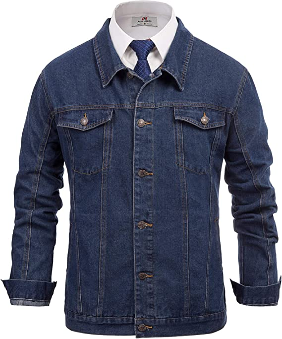 60s 70s Men's Jackets & Sweaters PAUL JONES Mens Stylish Denim Jacket Coat Lapel Collar Button Placket Cotton $39.99 AT vintagedancer.com