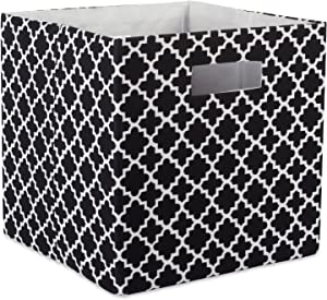 "DII Hard Sided Collapsible Fabric Storage Container for Nursery, Offices, & Home Organization, (11x11x11"") - Lattice Black"