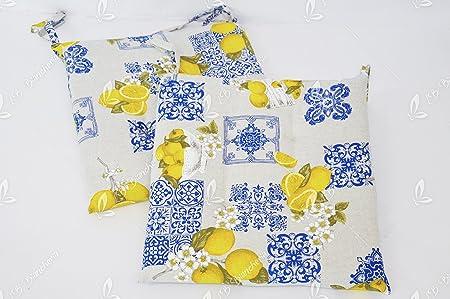 RP Coppia Cuscini Sedia con Lacci Limoni di Sorrento Country Shabby Chic cm 40x40 Made in Italy Ricami Bluette