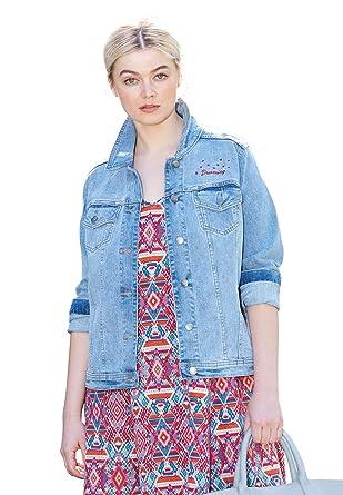 bce1a543046 Ellos Women s Plus Size Distressed Denim Jacket at Amazon Women s Coats Shop