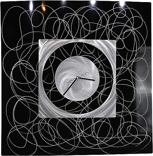 Statements2000 Metal Wall Clock Art Modern Red Silver Handmade Decor Jon Allen
