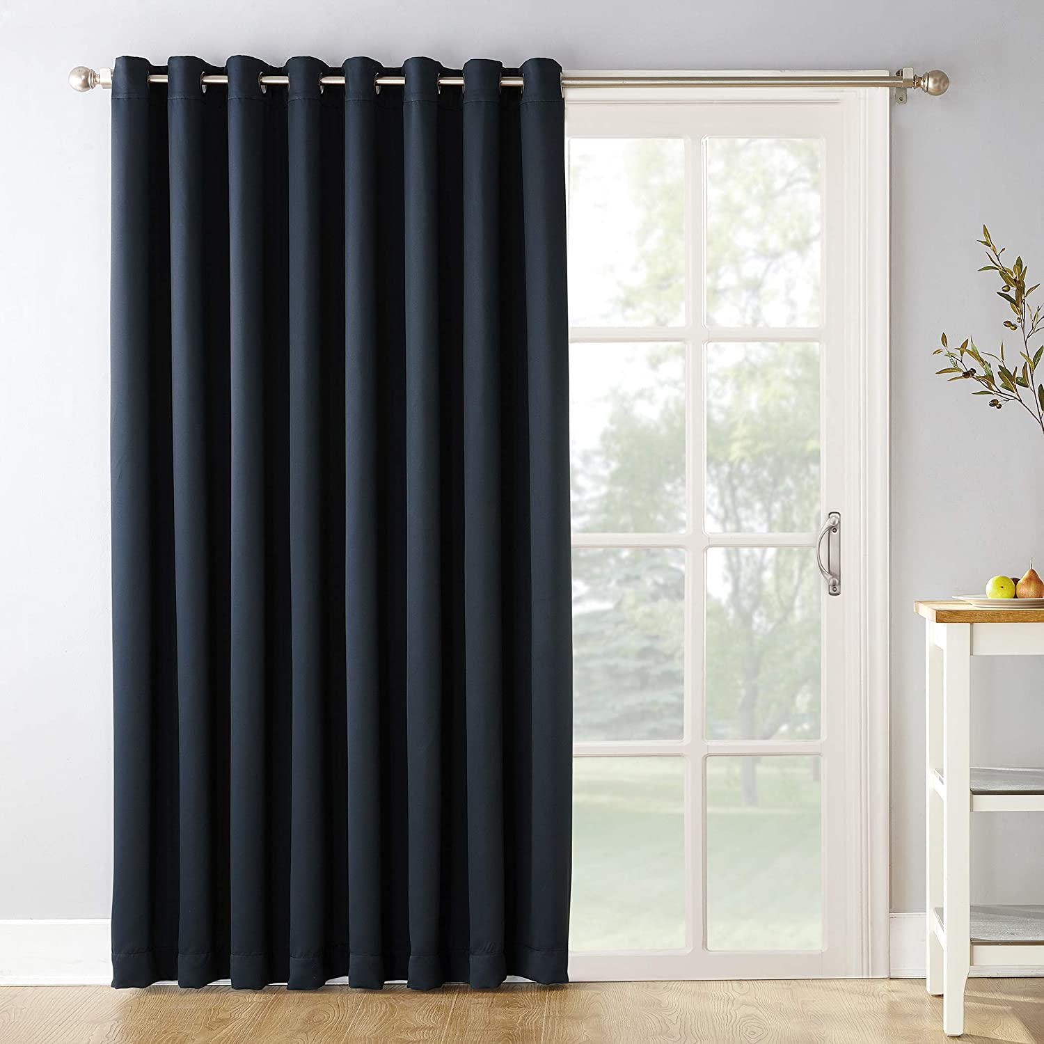 """Sun Zero Easton Extra-Wide Blackout Sliding Patio Door Curtain Panel with Pull Wand, 100"""" x 84"""", Navy Blue"""