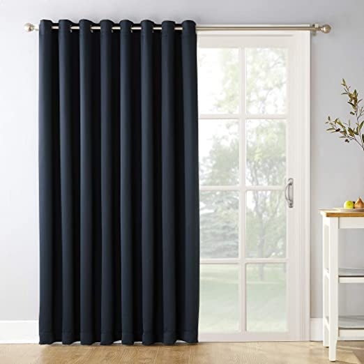 Amazon Com Sun Zero Easton Extra Wide Blackout Sliding Patio Door Curtain Panel With Pull Wand 100 X 84 Navy Blue Home Kitchen