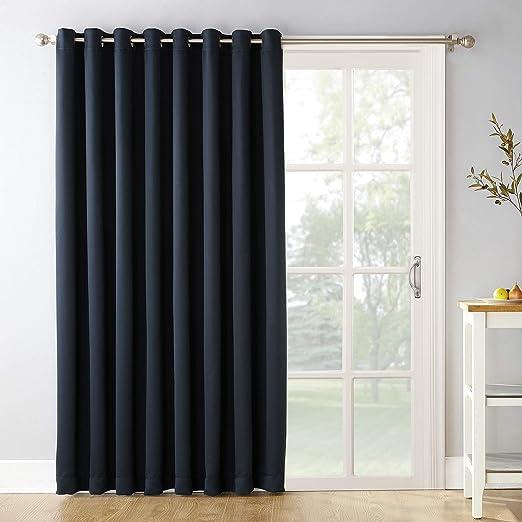 Amazon Com Sun Zero Easton Extra Wide Blackout Sliding Patio Door Curtain Panel With Pull Wand 100 X 84 Navy Blue Home Kitchen