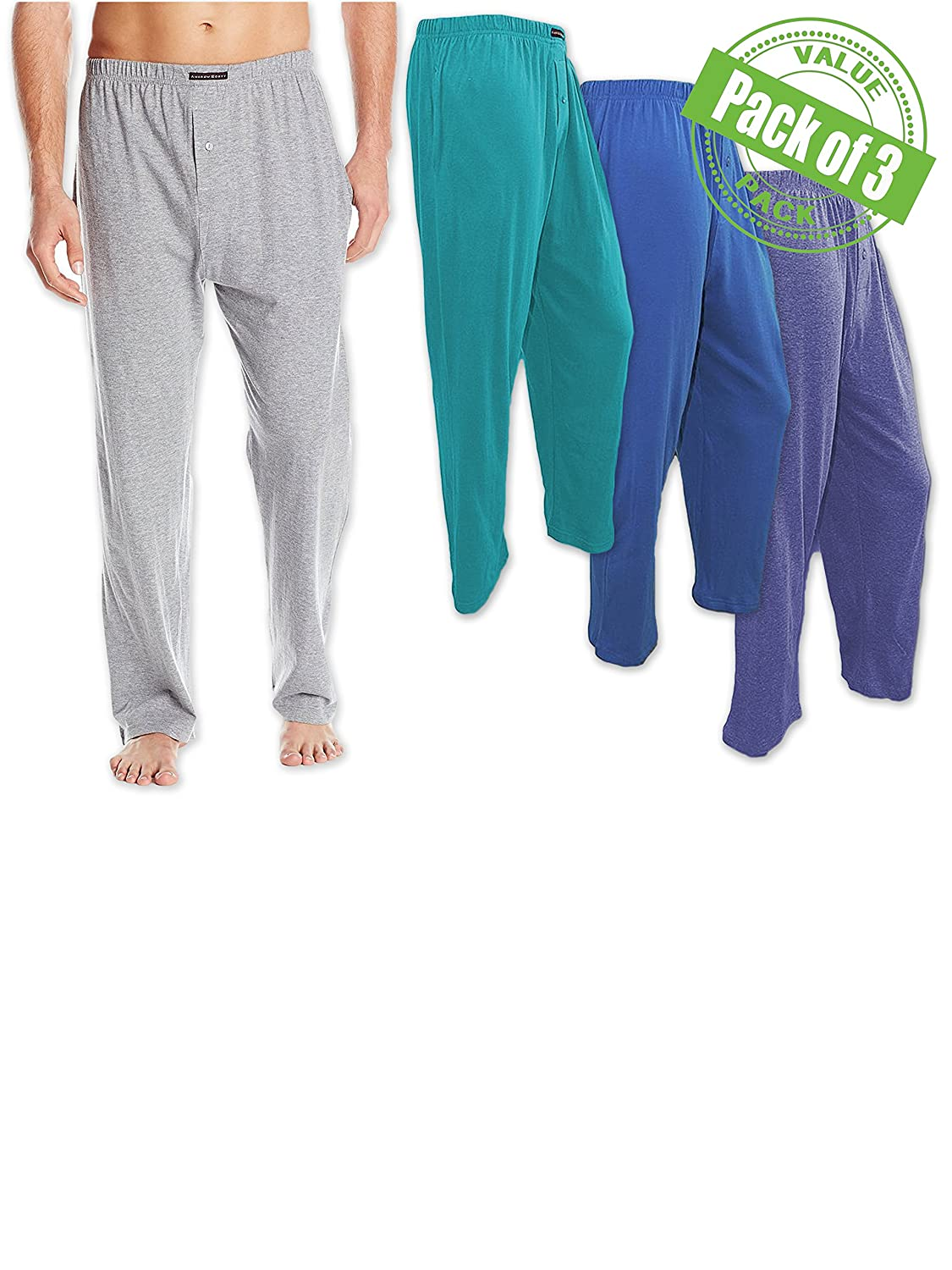 Andrew Scott Men's 3 Pack Cotton Knit Jersey Lightweight Yoga Lounge Sleep Pant 74444X3