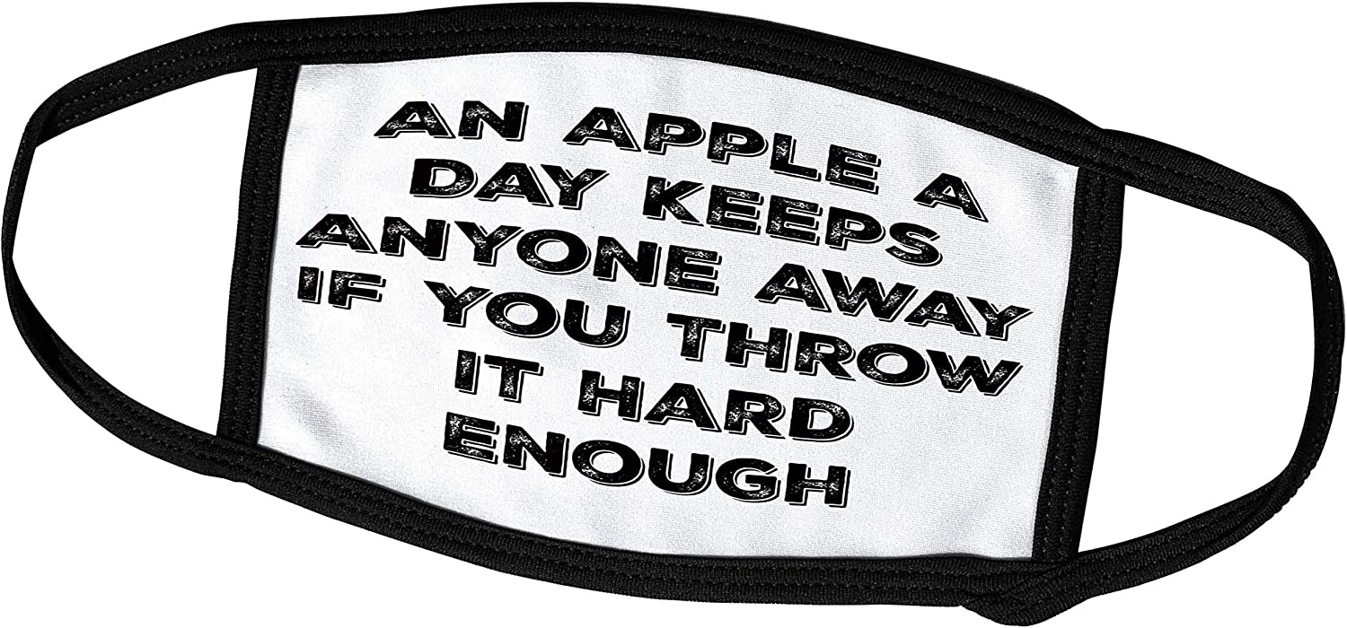 3dRose Image of an Apple A Day Keeps Anyone Away If You Throw It Hard. - Face Covers (fc_293462_2)