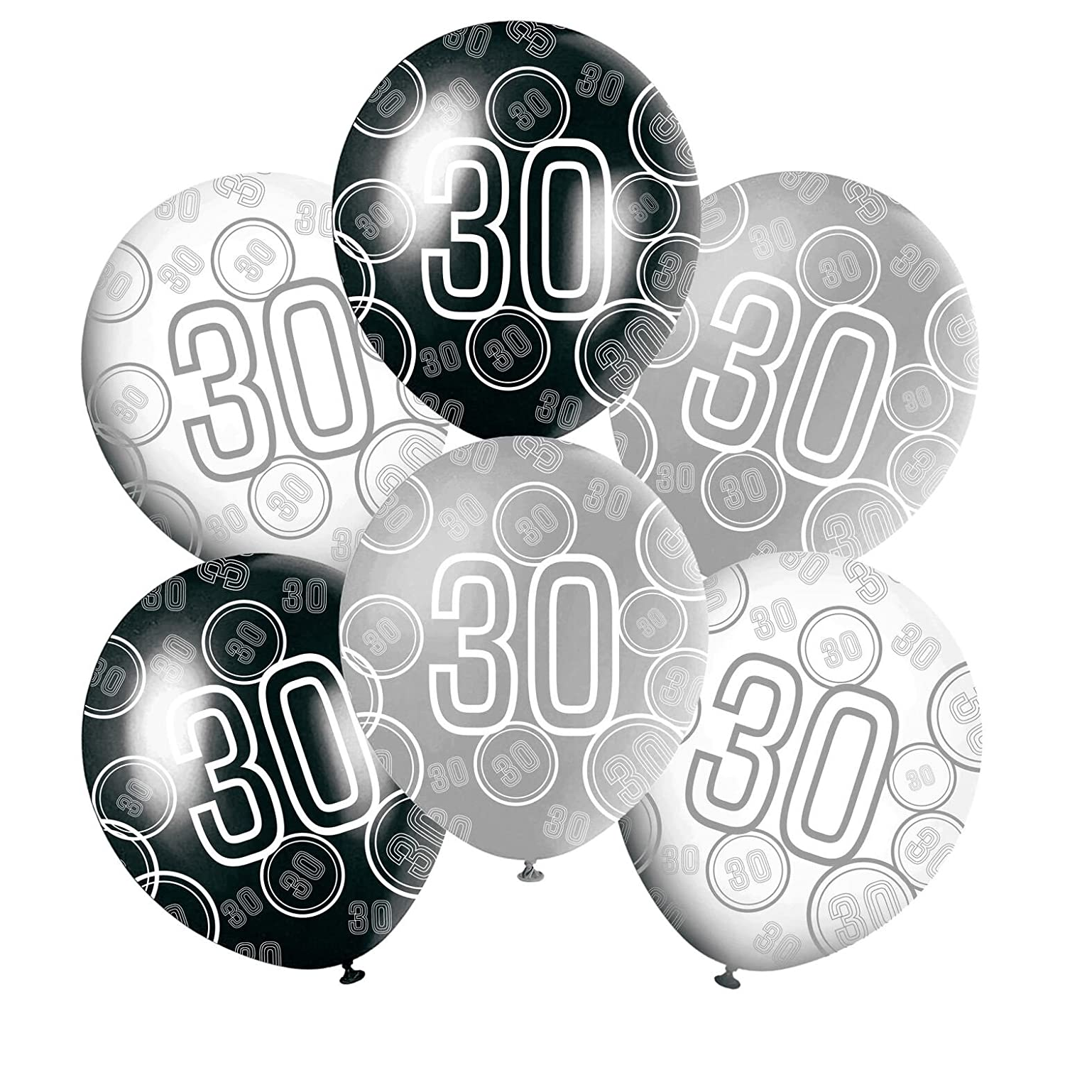 30th Mixed Black White Silver Glitz Girls Or Boys Classy Happy Birthday Balloons Anniversary Special Occasion Party Decoration Latex 12 6 In