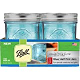 Ball Regular Mouth Elite Collection Half Pint Jars, Blue (4-Pack)