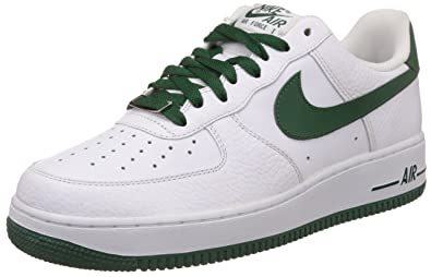 new concept a8621 c9b06 Nike Men s Air Force 1 07 White and Gorgeous Green Running Shoes -9 UK