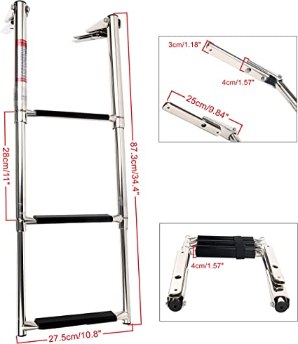 3 Steps Boat Marine Telescoping Stainless Steel Ladder with Slide Mount-Fashion