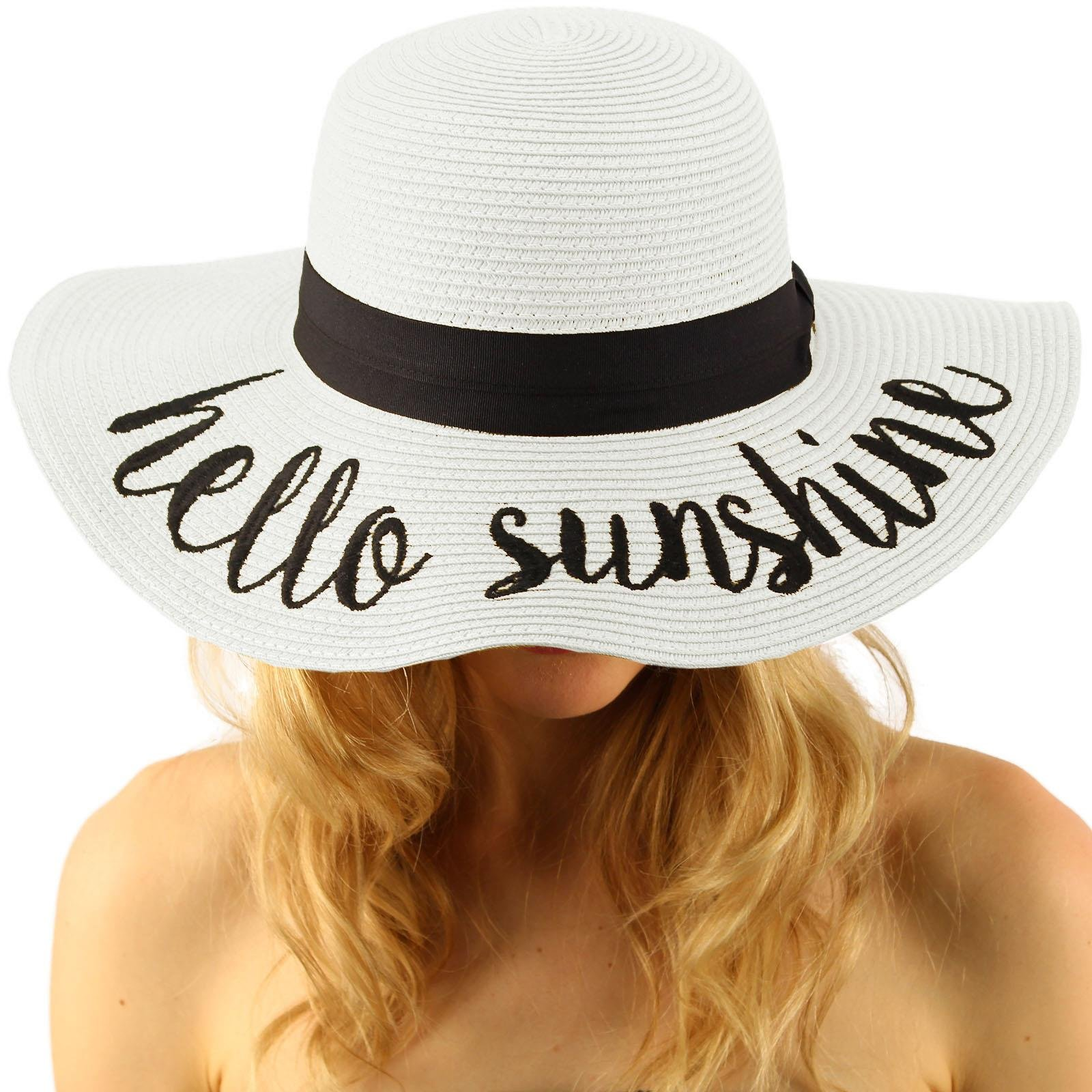 Fun Verbiage Elegant Wide Brim 4'' Summer Derby Beach Pool Floppy Dress Sun Hat Hello Sunshine, White