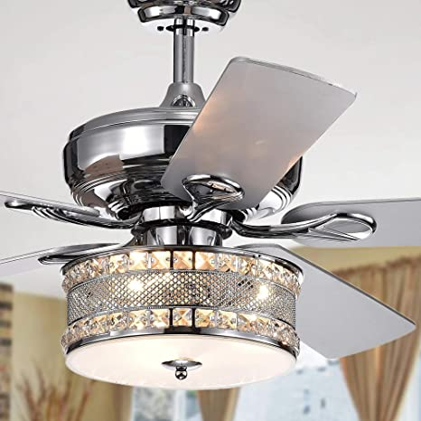 Andersonlight Crystal Ceiling Fan With Light Kit 52 Inch Home Indoor Silver Remote Ceiling Fan Chandelier Contemporary Fan Light