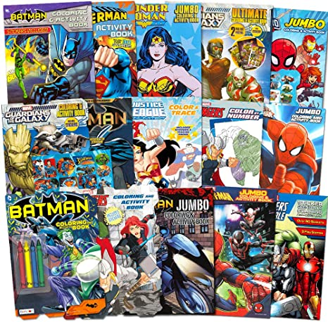 - Amazon.com: Superhero Ultimate Coloring Book Assortment ~ 15 Books  Featuring Avengers, Spiderman, Justice League, Batman And More (Includes  Stickers): Toys & Games