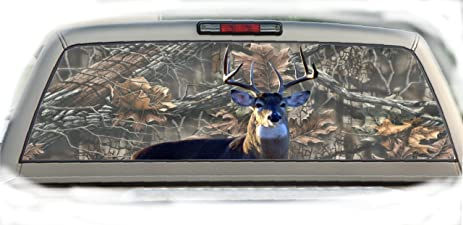 Amazoncom Buck Camo Inchesby Inches Compact Pickup - Rear window hunting decals for trucksamazoncom truck suv whitetail deer hunting rear window graphic