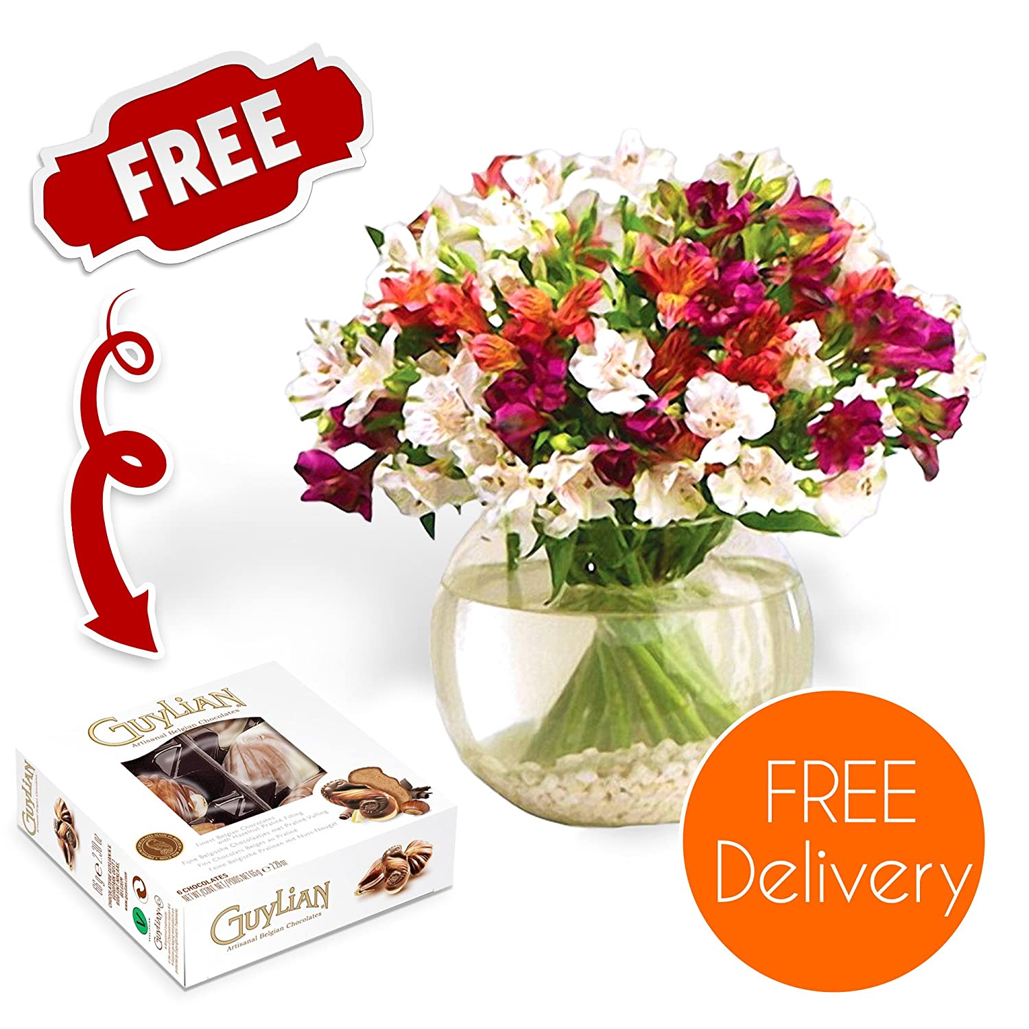 Fresh Flowers Delivered - Alstroemeria Bouquet with Chocolates, Flower Food and Bonus Ebook Guide - Perfect For Birthdays, Thank You, New House and Housewarming Gifts Guernsey Flowers