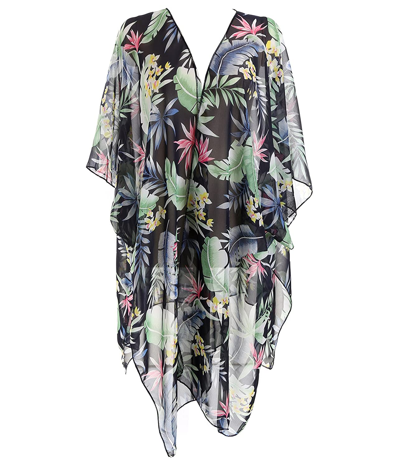 cd61efca06 Create Your Own Summer Look: This cover up features colorful floral  embroidered style, made with sheer fabric to create an impressive  silhouette look.