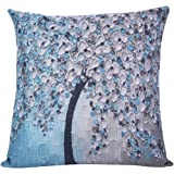 ChezMax Oil Painting Home Decorative Cotton Linen Throw Pillow Cover Cushion Case Square Pillowslip For Bedding Sofa Lake Blue 45 X 45 cm