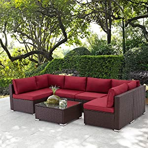 U-MAX 7 Pieces Outdoor Patio Furniture Set, All Weather Brown PE Rattan Wicker Sofa Set, Sectional Furniture Conversation Set with Cushions and Coffee Table for Porch Garden Poolside, Red
