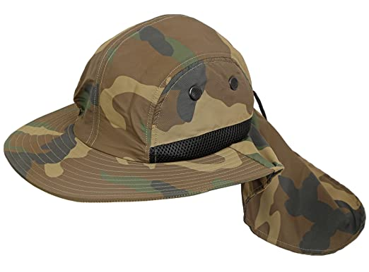 adfd0b646b1 H-197-SM Camo Neck Protector Sun Hat - (SM) at Amazon Men s Clothing ...