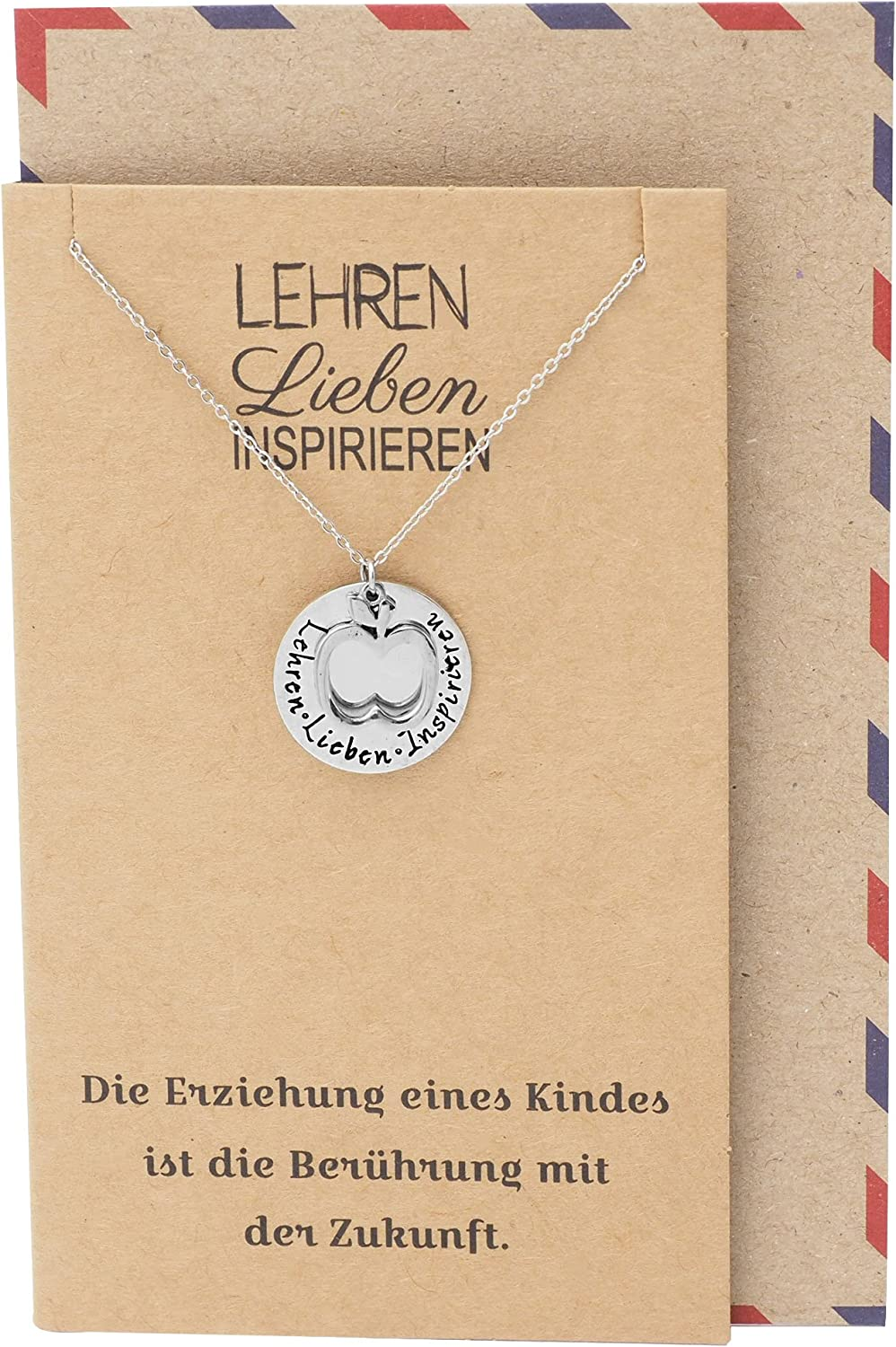 Quan Jewelry Teacher Appreciation Gifts, German Inscription Apple Pendant Necklace, Teacher Gifts for Women with Inspirational Greeting Card