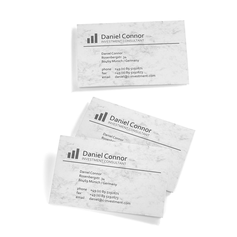 Sigel DP742 Visitenkarten Marmor grau 100 Stück = 10 Blatt