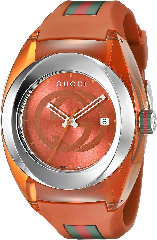 Gucci Analog Display Swiss Quartz Orange SYNC Watch(Model:XXL YA137108)