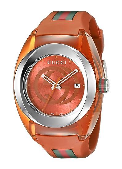 1eaaefa0613 Gucci SYNC XXL YA137108 Analog Display Swiss Quartz Orange Watch   Amazon.ca  Watches