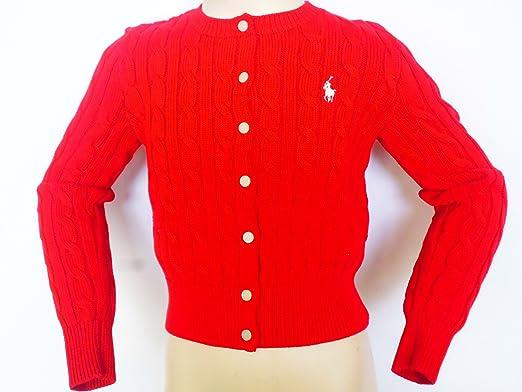 Ralph Lauren Kinder Pullover,Mädchen Klassische Cable Rot Shrunken  Cardigan Pullover (M ( 2e8750d4ee