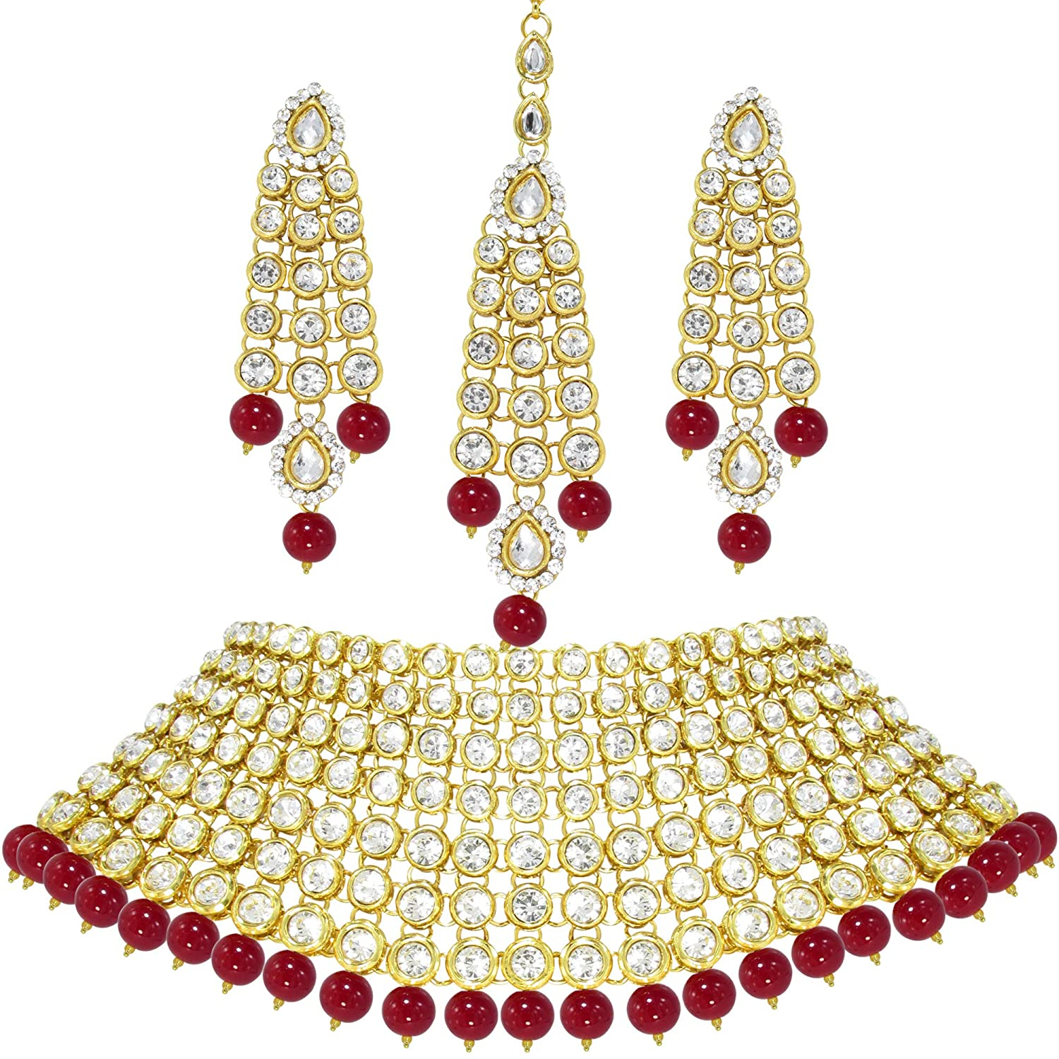 c6c43dbc2 Buy Dolls N Queens Kundan Pearls Beads Choker Set with Earring & Tikka for  Women (Red) Online at Low Prices in India | Amazon Jewellery Store -  Amazon.in