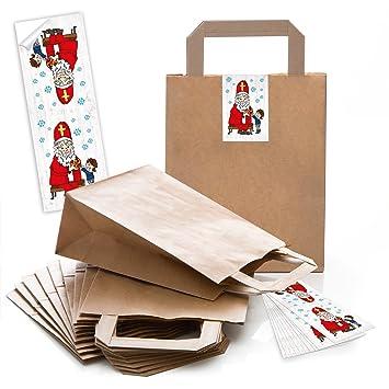 5 pequeñas bolsas marrones weihnac Papel con asa + con suelo (18 x 8 x
