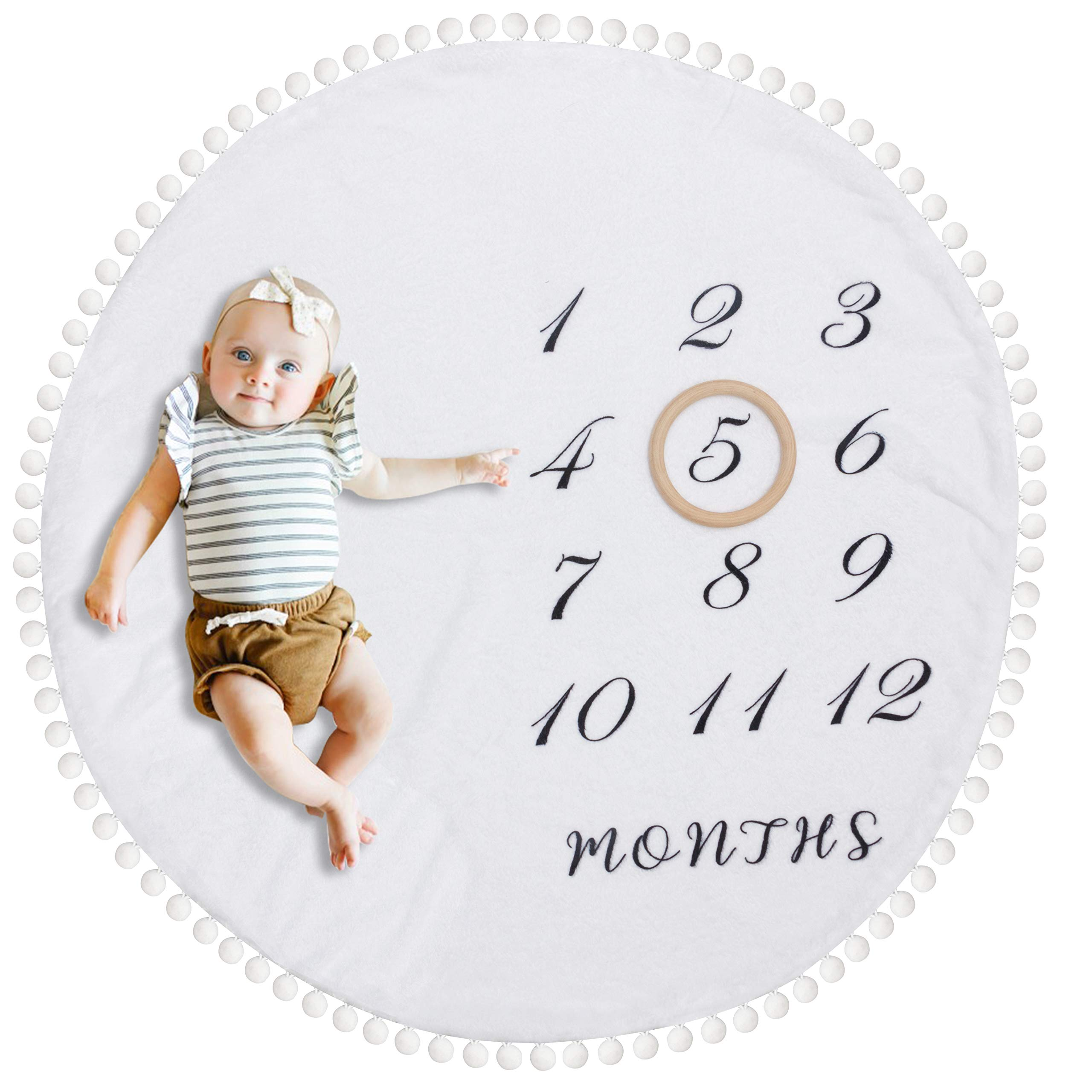 HAN-MM Baby Monthly Milestone Blanket with Wooden Circle Ring Reversible Double Layer Pom Pom Ball Thick Flannel Round Rug for Boy Girl, Extra Soft Baby Photography Props,Newborn Baby Shower Gifts by HAN-MM