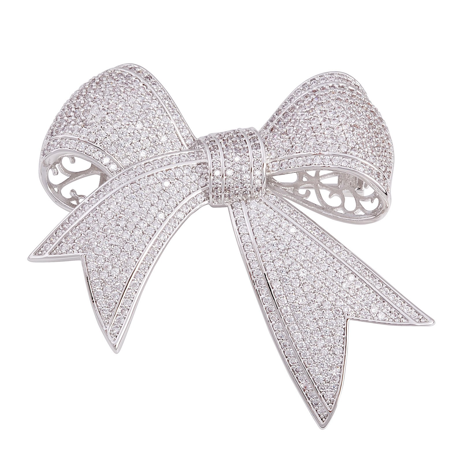 OBONNIE Elegant Silver Tone Micro Pave Cubic Zirconia Love Knot Bow Wedding Bride Mother Brooch Pin