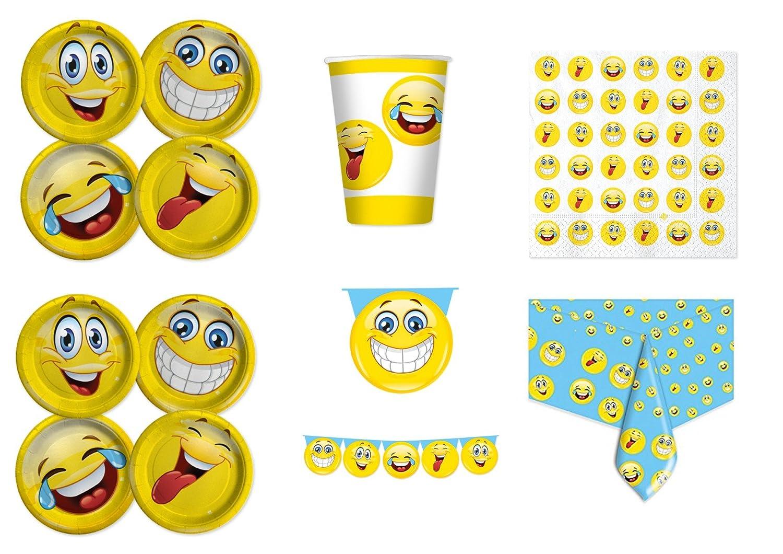 COORDINATO BAMBINI EMOTICONS SMILE FACCINE SORRIDENTI PER COMPLEANNO EVENTI ADDOBBI TAVOLA FESTA kit n/°1 Cdc- 8 PIATTI, 8 BICCHIERI, 20 TOVAGLIOLI, 1 TOVAGLIA ,1 FESTONE