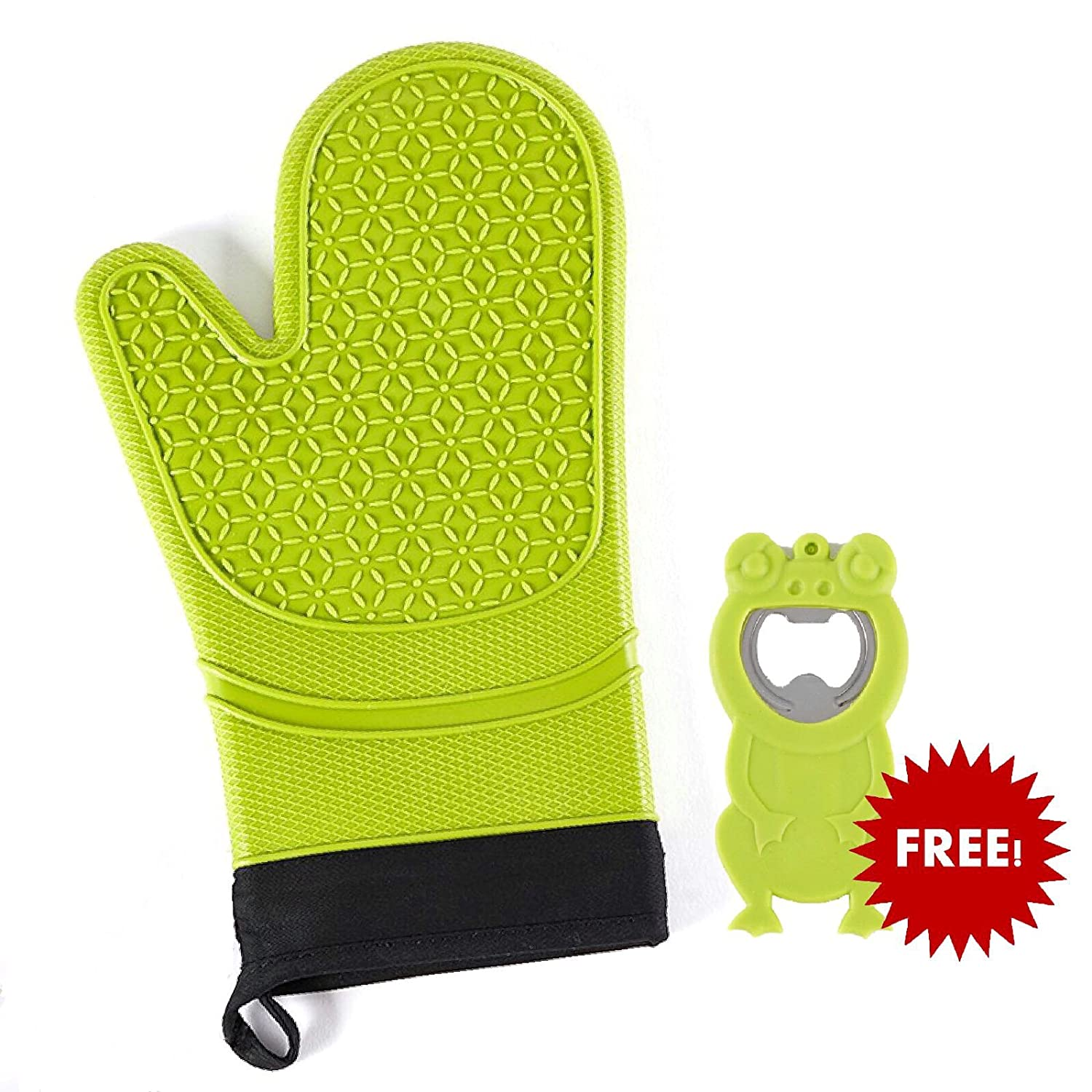Konigswerk Silicone Oven Mitt - Heat Resistant Gloves for Cooking - Easy Gripping - Durable - With A Cute Frog Bottle Opener As Free Gift (Green)