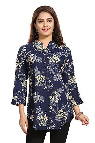 a692f47064232 Color Petal Floral Design Blue colour Printed Short Crepe Kurti Tunic Top  for women and girls  Amazon.in  Clothing   Accessories