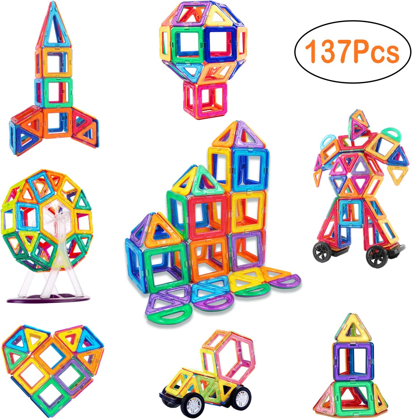 137 Pcs Magnetic Blocks, Magnetic Building Blocks Set for Kids, Magnetic Tiles Educational STEM Construction Kits for Kids, Girls, Boys